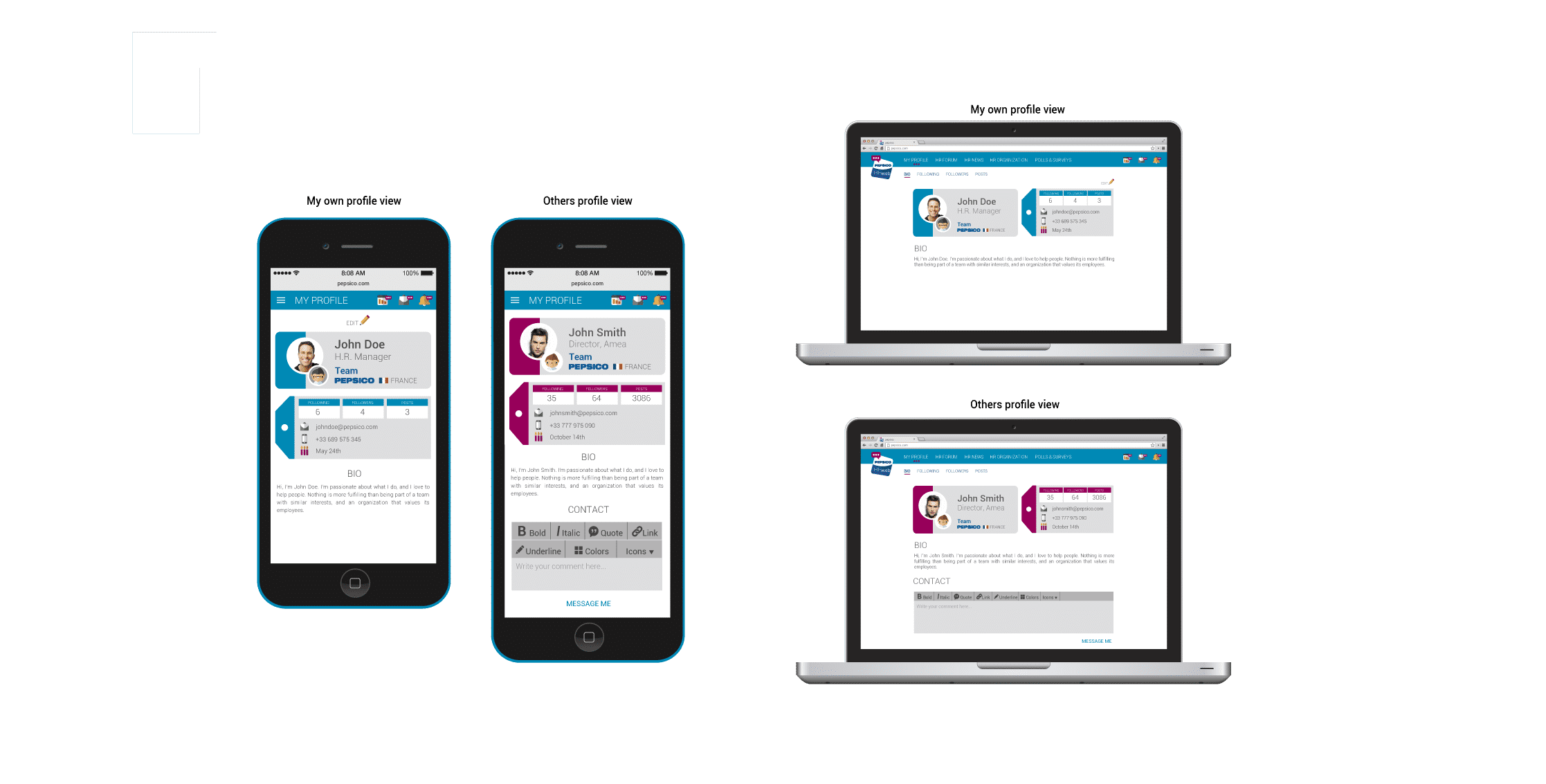 Ejemplos de la app para Pepsico