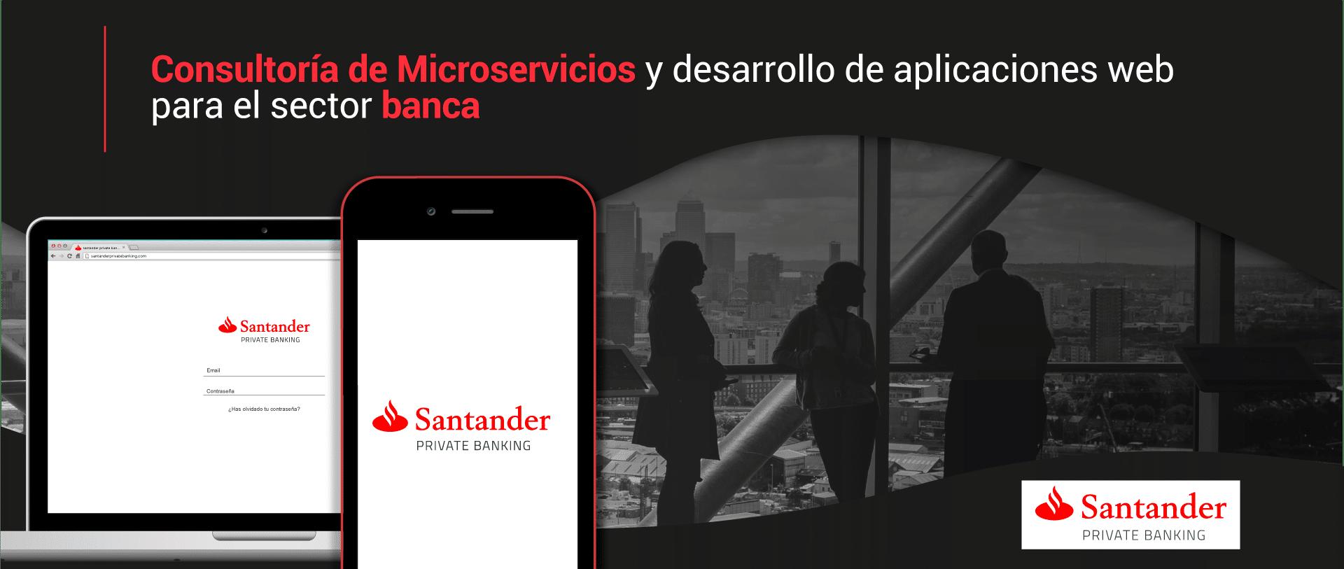 Diapositiva de slider con información sobre el cliente Banco Santander